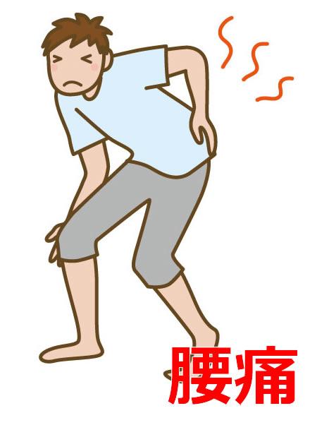 腰痛に悩む男性の絵